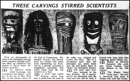 Newpaper clipping of aboriginal wooden carvings