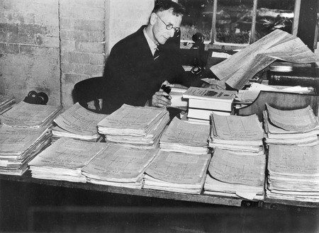 Charles Bean at work on the operations files at Victoria Barracks