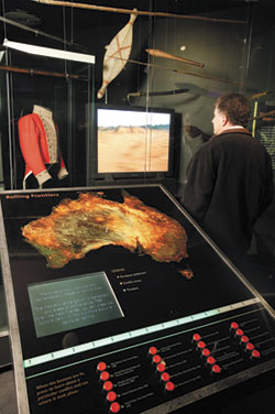 A view of the Rolling Frontiers interactive map of Australia in the Contested Frontiers exhibit