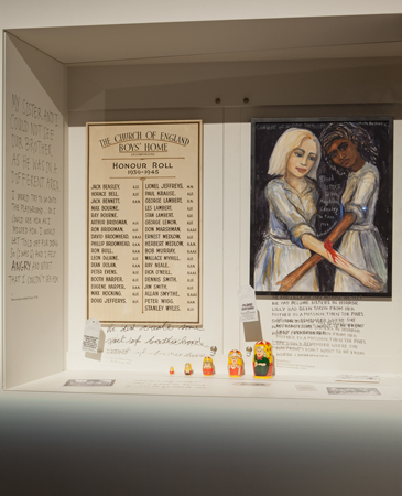 Painting Blood Sisters featured in an exhibition showcase