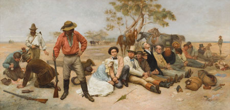 Bushrangers, Victoria, Australia, 1852,  1887, by William Strutt (1825–1915), The University of Melbourne Art Collection, Gift of the Russell and Mab Grimwade Bequest 1973, The Ian Potter Museum of Art, The University of Melbourne