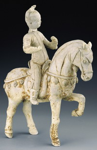 Earthernware female equestrian figure, Sui Dynasty