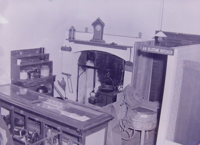 The old-time kitchen in the Armidale Folk Museum, 1958