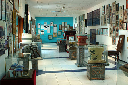 Interior of the museum, showing some of the international toilets on display