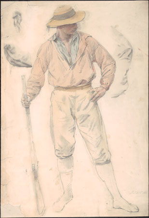 Study for Bushrangers, Victoria, Australia, 1852, 1886, by William Strutt (1825–1915), Rex Nan Kivell Collection, National Library of Australia nla.gov.au/nla.pic-an3230644