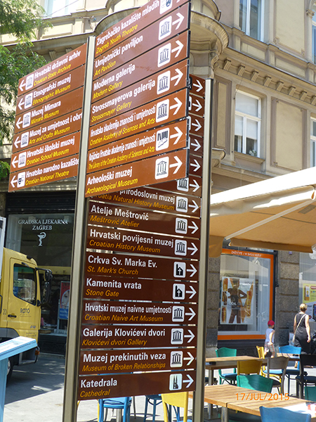 Directional sign in Zagreb