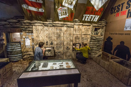Visitors explore the Gallipoli daily life activity station