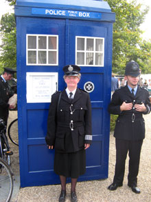 June had re-created the uniform and accessories of a Woman Police Constable of the Monmouth Constabulary to accompany her 1966 Triumph Herald Panda car