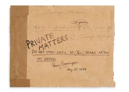Envelope inscribed by Percy Grainger