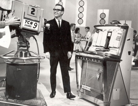 Brian Henderson on the set of Bandstand