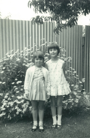 The author, aged five (right), with Mary, from st Mary's Mission of Hope Children's Home, Adelaide