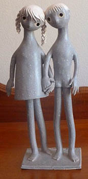 French porcelain figurine twins, bought by Colin in Saks Fifth Avenue, New York, and the label on the base of the figurine