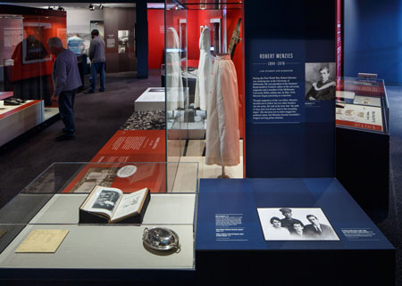 Objects on loan from the Menzies family on display in the exhibition