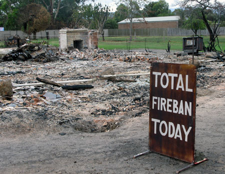 This homemade CFA sign was first created after the devastating Ash Wednesday bushfires in 1983