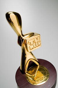 Australian TV personality Bert Newton's Hall of Fame Gold Logie award