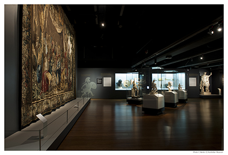 Tapestry as backdrop to section of the exhibition dealing with Alexander's upbringing and early life