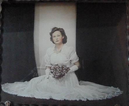 Mavis in her debutante gown, 1942