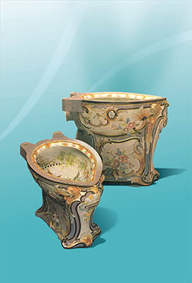 Highly ornate toilets from the Museum's unusual collection