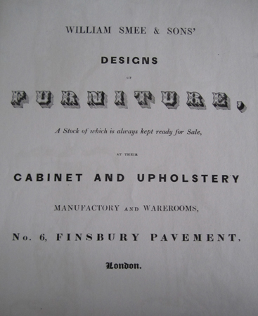 Front cover of William Smee & Sons' Designs of Furniture