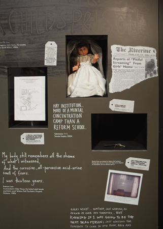 An internal wall of the Inside exhibition, showing how the voices of Forgotten Australians were foregrounded