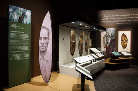 Contemporary Indigenous artworks displayed alongside objects from the British Museum collection; on display at the National Museum of Australia, 2015–16