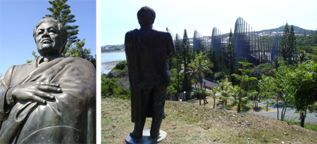 Fig. 3. Jean-Marie Tjibaou statue. Fig. 4. Looking over the CCT from Tjibaou statue.