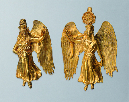 Greek earrings from the fourth century BC with figures of Nike (Victory)