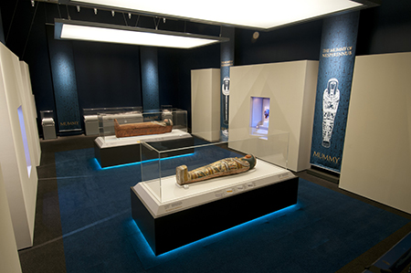 Two of the four human mummies included in Mummy: Secrets of the Tomb