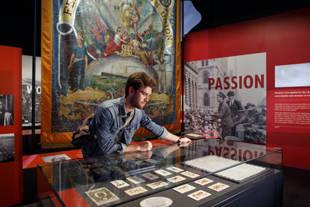 View of the 'Passion' module, featuring the conscription battle, with objects from Billy Hughes and Adela Pankhurst