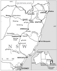 Map of New England region of northern New South Wales