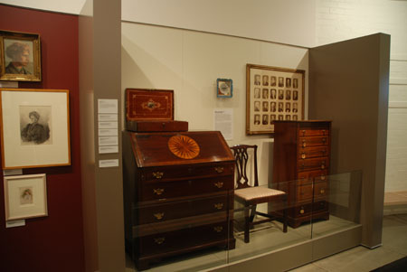 A display of furniture and objets d'art collected by the Graingers to furnish their London home