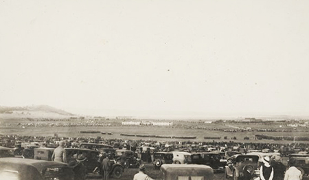 A photograph taken by the Sibleys of parked cars during the celebrations at Parliament House, 1927