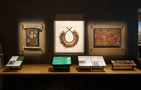 Contemporary Indigenous artworks and audio visual material provide modern context for the British Museum objects; on display at the National Museum of Australia, 2015–16