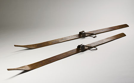 Skis made from Alpine ash, in a style known as 'Kiandra kick-ins', from Adaminaby, New South Wales