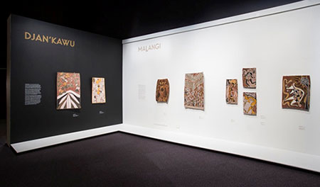 View of the Djan'kawu and Malangi section of the exhibition on show