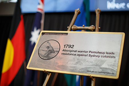 The plaque unveiled in commemoration of Pemulwuy as part of the Defining Moments in Australian History Project.