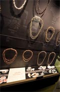 Display of shell necklaces in the ningenneh tunapry exhibition
