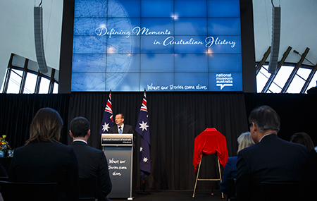 The Hon. Tony Abbott MP, Prime Minister of Australia, launching the Defining Moments in Australian History project on 29 August 2014 at the National Museum of Australia.