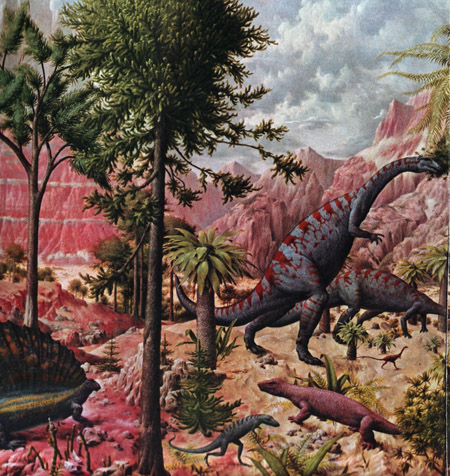 Fig. 9. Reptiles Inherit the Earth (detail), based on the mural The Age of Reptiles, by Rudolph Zallinger, Peabody Museum, Yale University