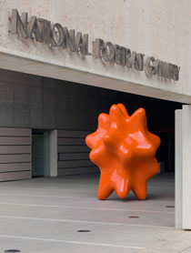 Geo Face Distributor, 2009, by James Angus, at the entrance to the National Portrait Gallery