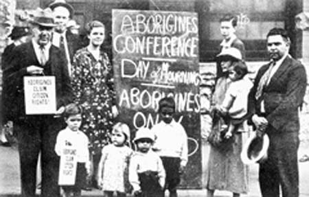 Photo of Aboriginal activists at the 1938 Day of Mourning and Protest in Sydney