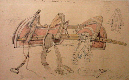 William Strutt's watercolour sketch of a camel riding saddle