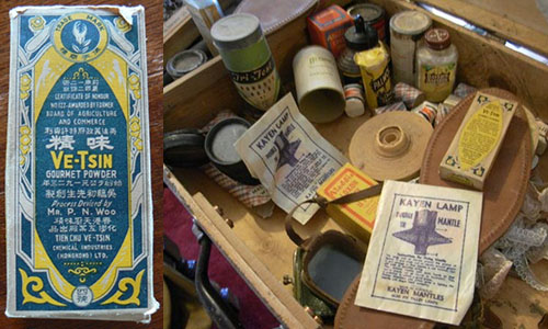 Ve-Tsin powder (left) and a selection of other goods remaining from Yen's General Store, Old Adaminaby