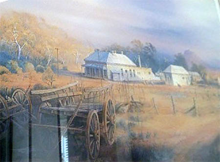 Detail of a painting of the Australian Inland Mission, Smith of Dunesk Manor, Beltana, South Australia, by Kenneth Jack