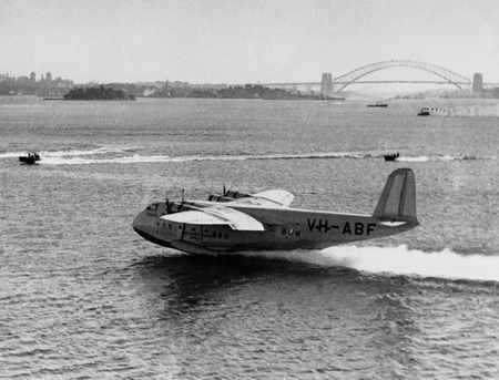 Qantas flying boat on Sydney harbour