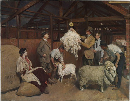 Weighing the fleece painting by Lambert
