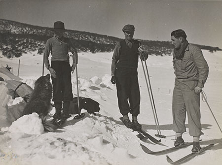 Charles Yen's grandson Geoff (right) on the skifields