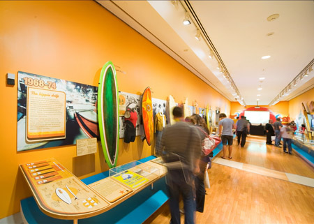 The bright and airy interior of Surf City at the Museum of Sydney
