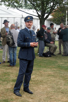 Wartime uniforms — here the authentic look of an RAF flight lieutenant — are among the most popular of clothing styles at Goodwood Revival