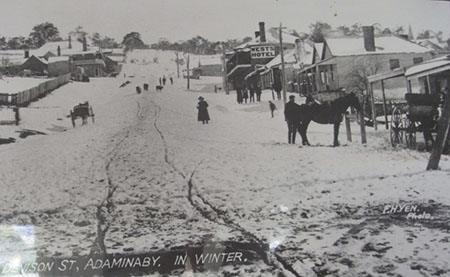 Denison St, Adaminaby, in winter